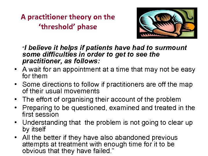 """A practitioner theory on the 'threshold' phase """"I • • • believe it helps"""