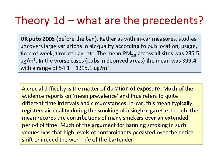 Theory 1 d – what are the precedents? UK pubs 2005 (before the ban).
