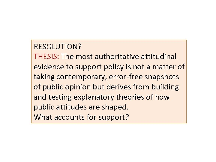 RESOLUTION? THESIS: The most authoritative attitudinal THESIS: evidence to support policy is not