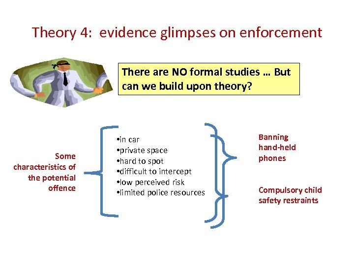Theory 4: evidence glimpses on enforcement There are NO formal studies … But can
