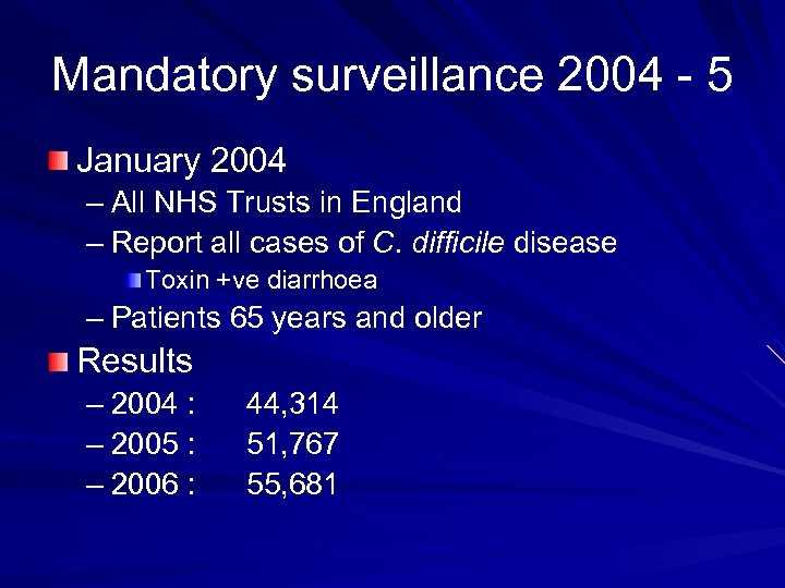 Mandatory surveillance 2004 - 5 January 2004 – All NHS Trusts in England –