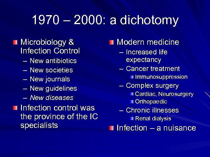 1970 – 2000: a dichotomy Microbiology & Infection Control – – – New antibiotics