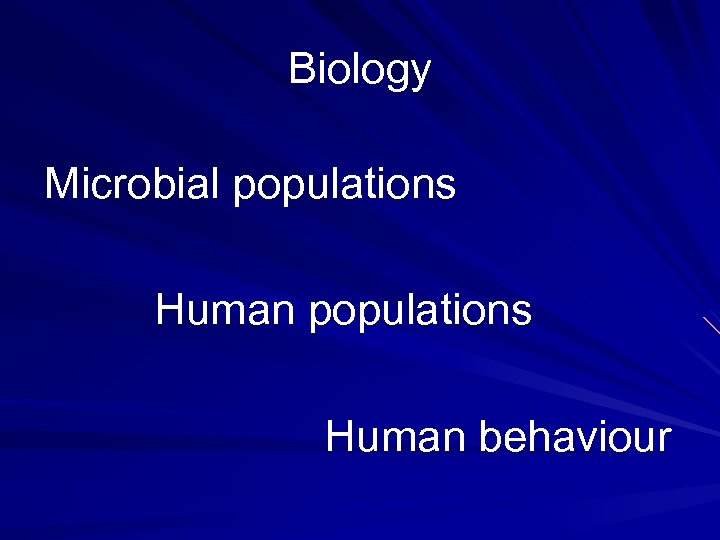 Biology Microbial populations Human behaviour
