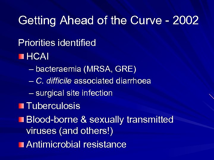 Getting Ahead of the Curve - 2002 Priorities identified HCAI – bacteraemia (MRSA, GRE)
