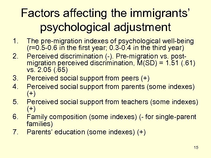 Factors affecting the immigrants' psychological adjustment 1. 2. 3. 4. 5. 6. 7. The
