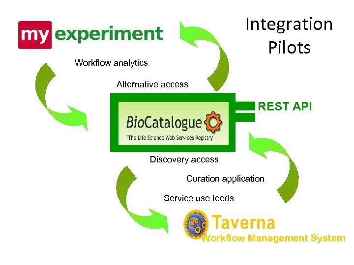 Integration Pilots Workflow analytics Alternative access REST API Discovery access Curation application Service use