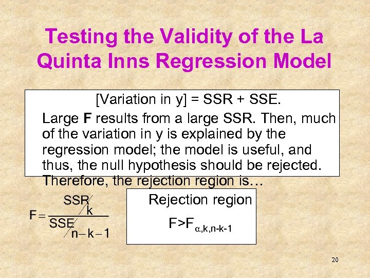Testing the Validity of the La Quinta Inns Regression Model [Variation in y] =