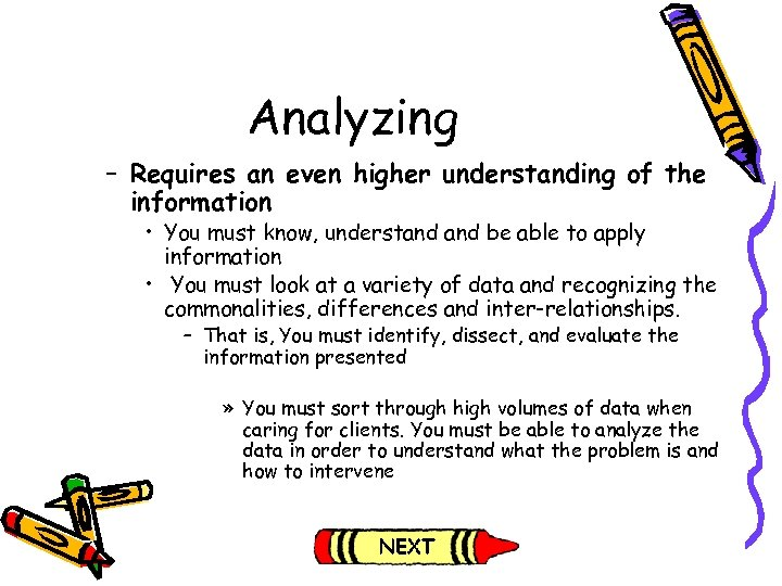 Analyzing – Requires an even higher understanding of the information • You must know,