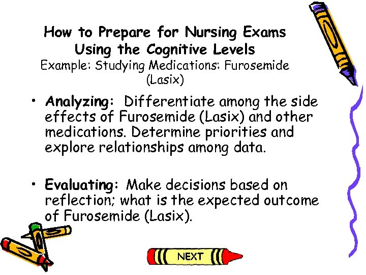 How to Prepare for Nursing Exams Using the Cognitive Levels Example: Studying Medications: Furosemide