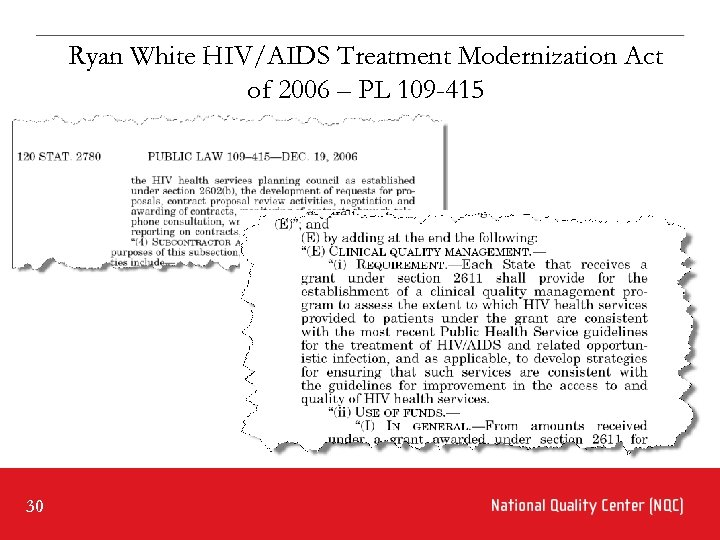 Ryan White HIV/AIDS Treatment Modernization Act of 2006 – PL 109 -415 30