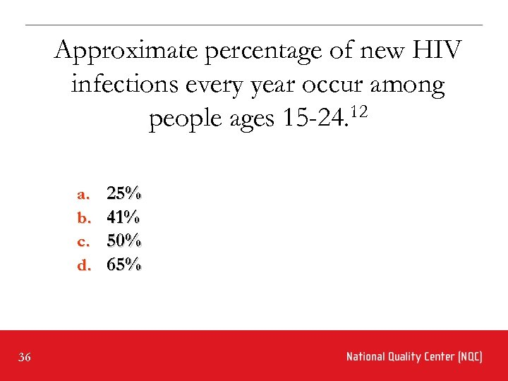 Approximate percentage of new HIV infections every year occur among people ages 15 -24.