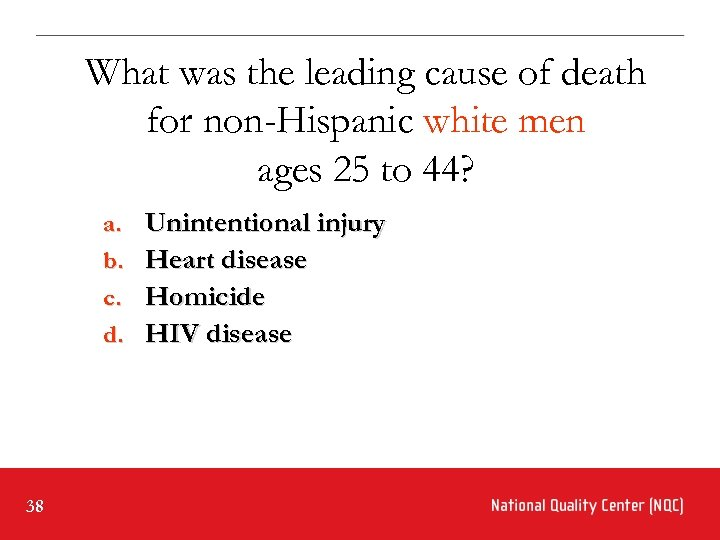 What was the leading cause of death for non-Hispanic white men ages 25 to