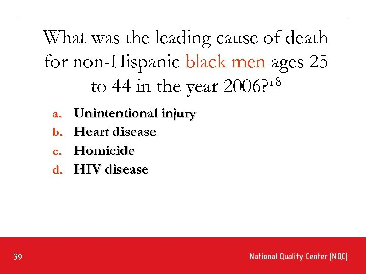 What was the leading cause of death for non-Hispanic black men ages 25 to