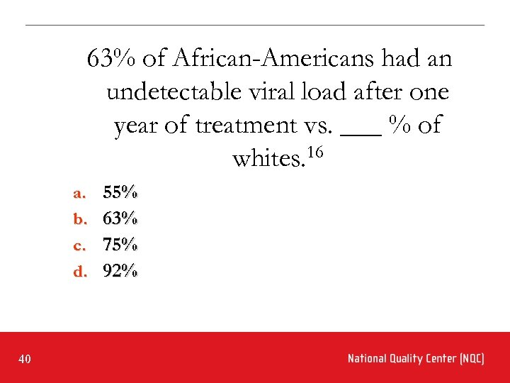 63% of African-Americans had an undetectable viral load after one year of treatment vs.