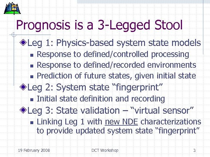 Prognosis is a 3 -Legged Stool Leg 1: Physics-based system state models n n