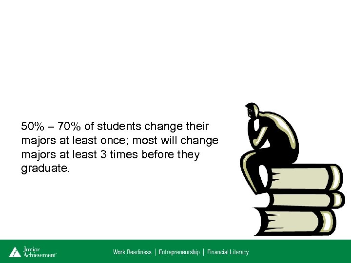50% – 70% of students change their majors at least once; most will change