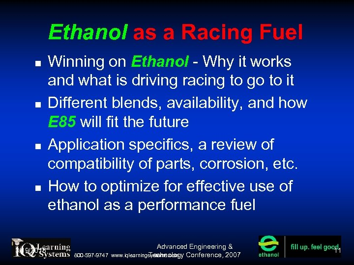 Ethanol as a Racing Fuel 3/19/2018 Winning on Ethanol - Why it works and
