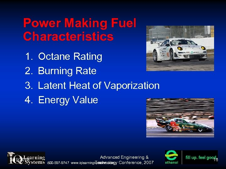 Power Making Fuel Characteristics 1. 2. 3. 4. 3/19/2018 Octane Rating Burning Rate Latent