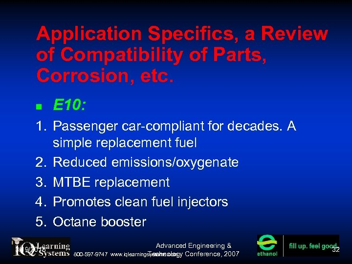 Application Specifics, a Review of Compatibility of Parts, Corrosion, etc. E 10: 1. Passenger