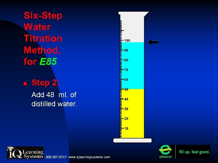 Six-Step Water Titration Method, for E 85 Step 2: Add 48 ml. of distilled