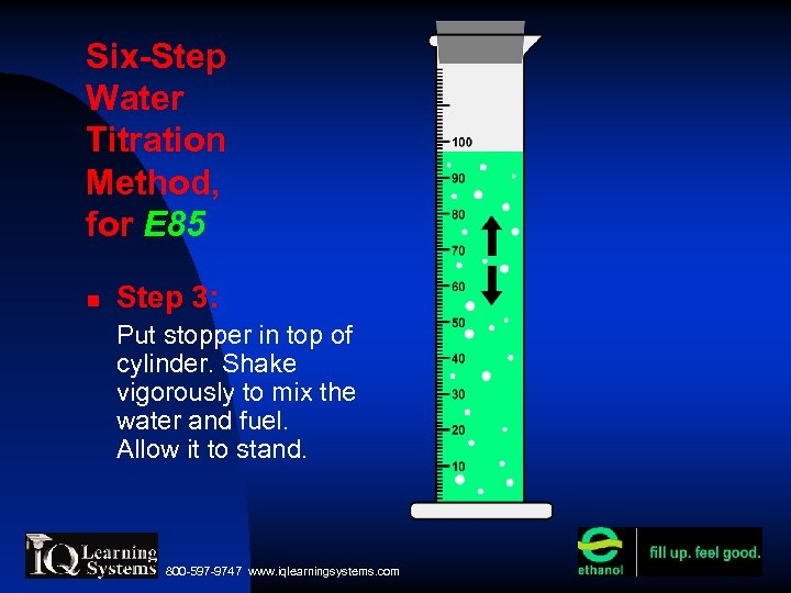Six-Step Water Titration Method, for E 85 Step 3: Put stopper in top of