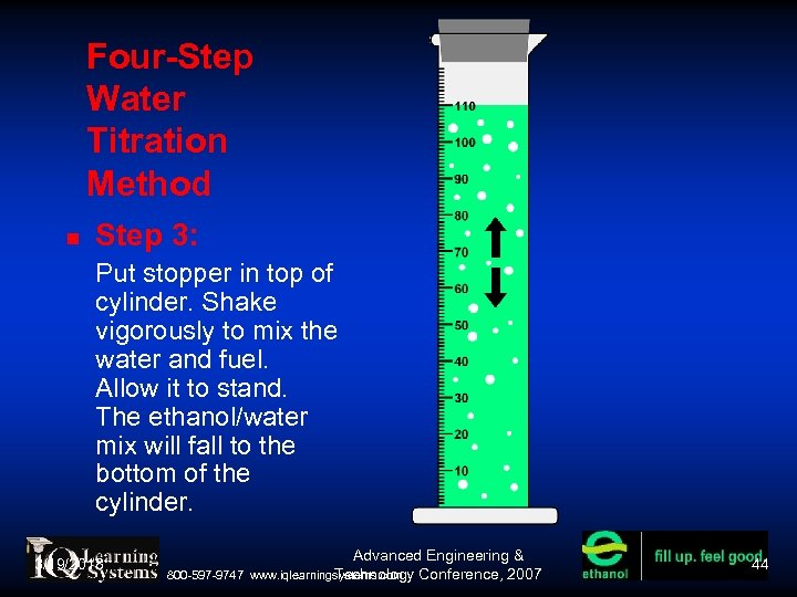 Four-Step Water Titration Method Step 3: Put stopper in top of cylinder. Shake vigorously