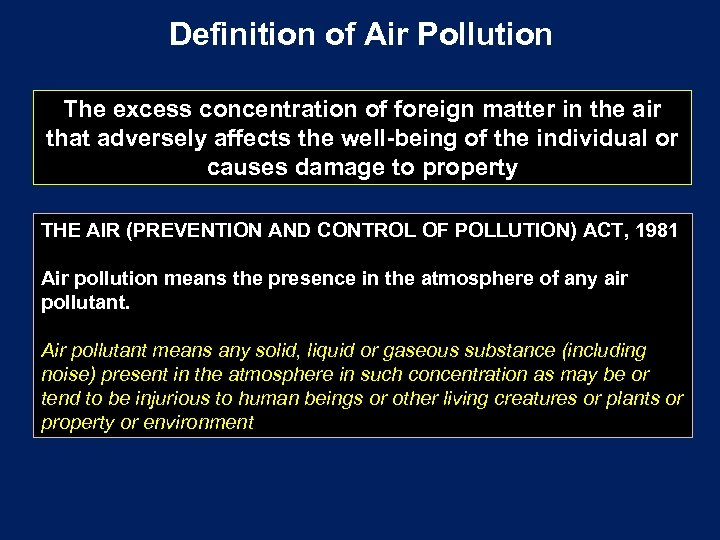 Definition of Air Pollution The excess concentration of foreign matter in the air that