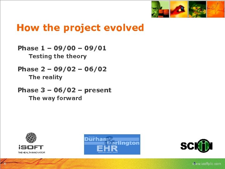 How the project evolved Phase 1 – 09/00 – 09/01 Testing theory Phase 2