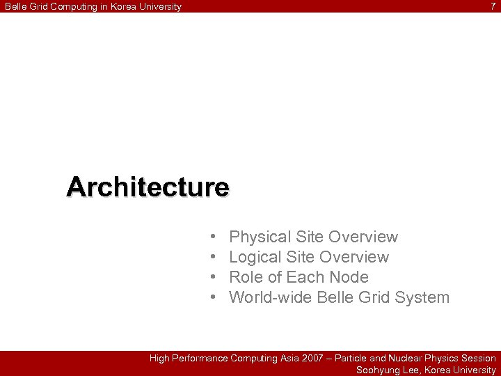 Belle Grid Computing in Korea University 7 Architecture • • Physical Site Overview Logical