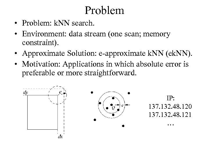 Problem • Problem: k. NN search. • Environment: data stream (one scan; memory constraint).