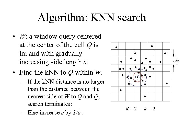 Algorithm: KNN search • W: a window query centered at the center of the