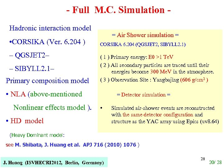 - Full M. C. Simulation Hadronic interaction model • CORSIKA (Ver. 6. 204 )