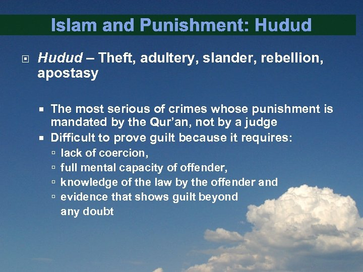 ISLAM AND RESTORATIVE JUSTICE AN INTRODUCTION Presented by