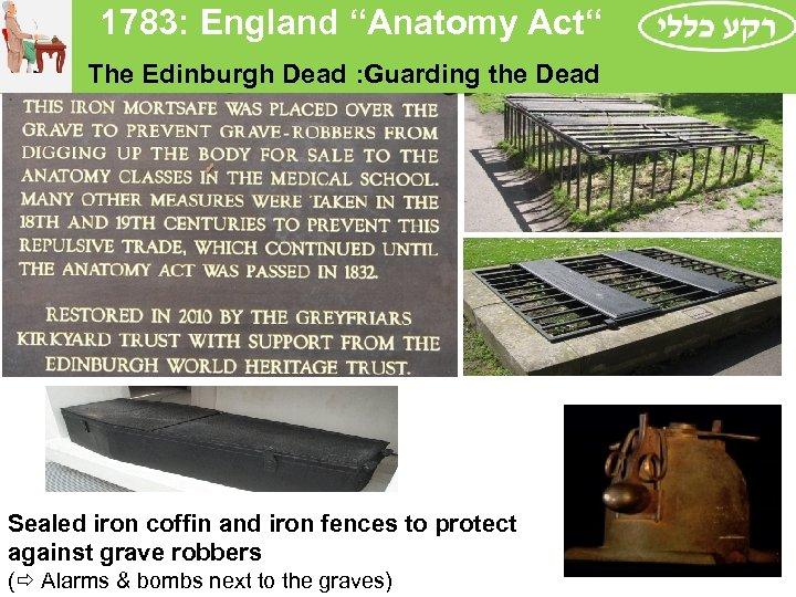 "1783: England ""Anatomy Act"" The Edinburgh Dead : Guarding the Dead Sealed iron"