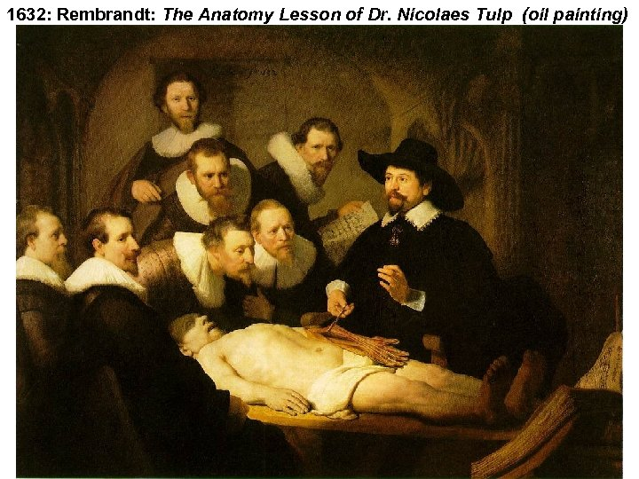 1632: Rembrandt: The Anatomy Lesson of Dr. Nicolaes Tulp (oil painting)