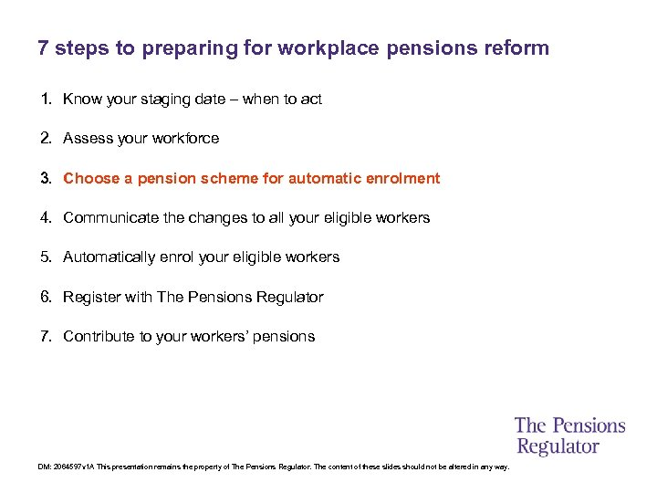 7 steps to preparing for workplace pensions reform 1. Know your staging date –
