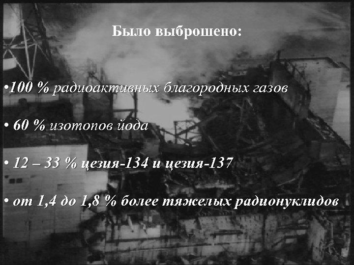 Было выброшено: • 100 % радиоактивных благородных газов • 60 % изотопов йода •