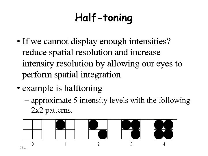 Half-toning • If we cannot display enough intensities? reduce spatial resolution and increase intensity