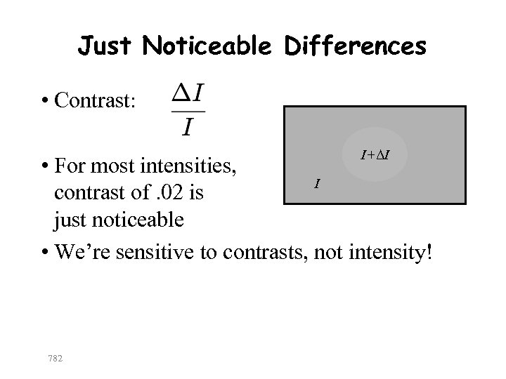 Just Noticeable Differences • Contrast: I+ΔI • For most intensities, I contrast of. 02