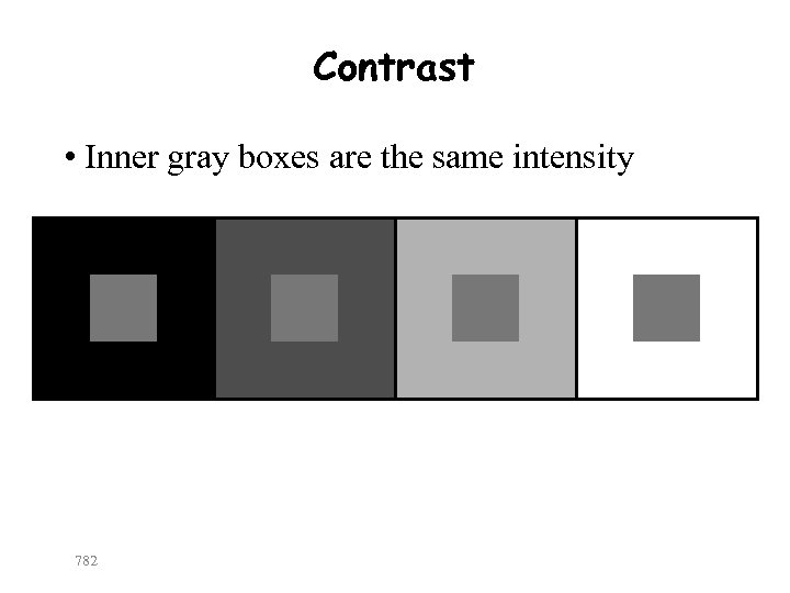 Contrast • Inner gray boxes are the same intensity 782