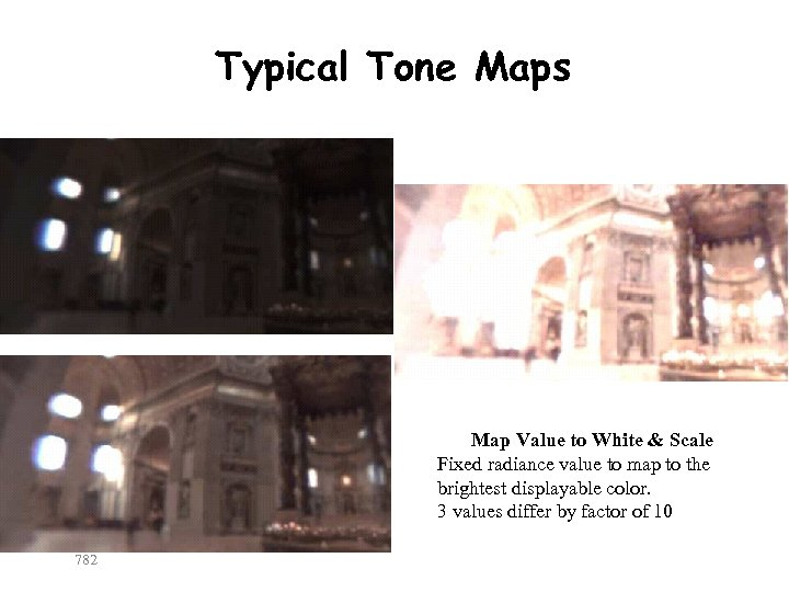 Typical Tone Maps Map Value to White & Scale Fixed radiance value to map