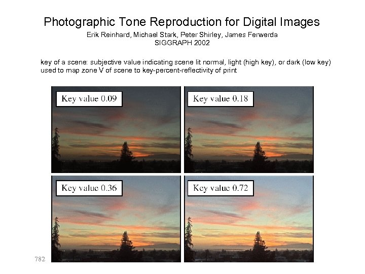 Photographic Tone Reproduction for Digital Images Erik Reinhard, Michael Stark, Peter Shirley, James Ferwerda