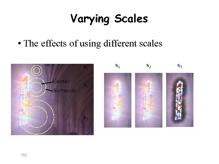 Varying Scales • The effects of using different scales s 1 Center Surround s