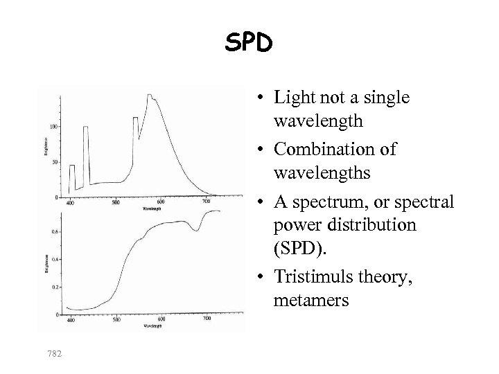 SPD • Light not a single wavelength • Combination of wavelengths • A spectrum,