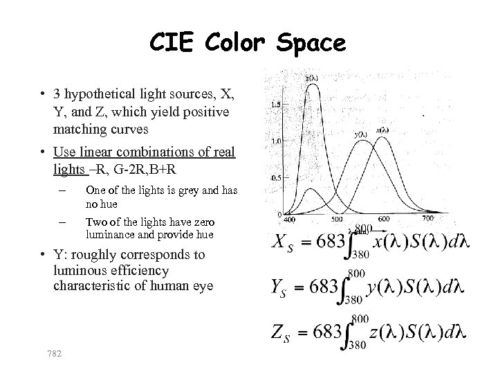 CIE Color Space • 3 hypothetical light sources, X, Y, and Z, which yield