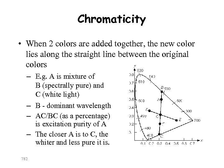 Chromaticity • When 2 colors are added together, the new color lies along the