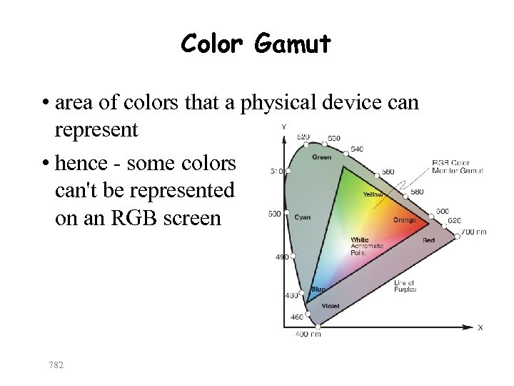 Color Gamut • area of colors that a physical device can represent • hence