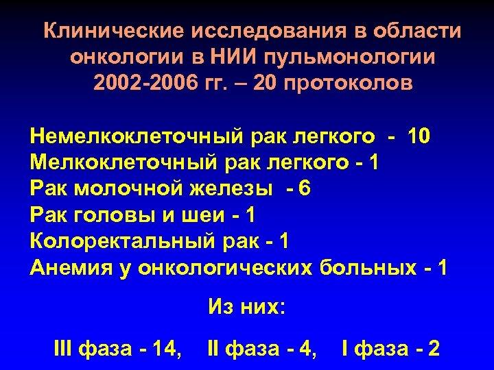 Клинические исследования в области онкологии в НИИ пульмонологии 2002 -2006 гг. – 20 протоколов
