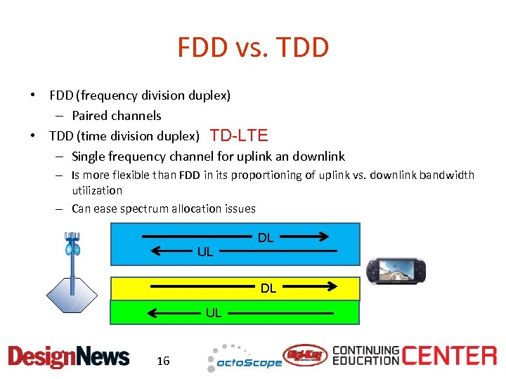 FDD vs. TDD • FDD (frequency division duplex) – Paired channels • TDD (time