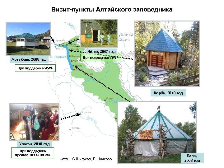 Визит-пункты Алтайского заповедника Яйлю, 2007 год Артыбаш, 2008 год При поддержке WWF Корбу, 2010